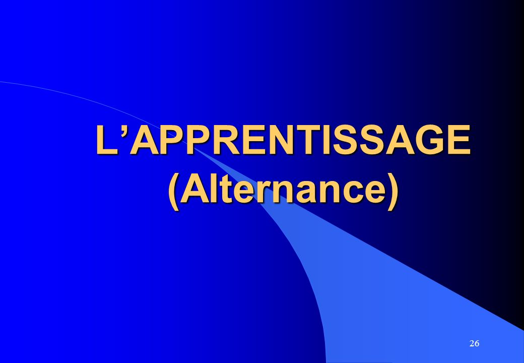 L'APPRENTISSAGE (Alternance)