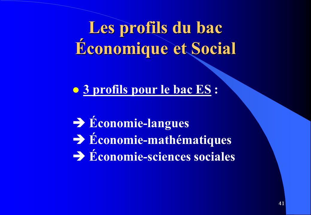 Les profils du bac Économique et Social