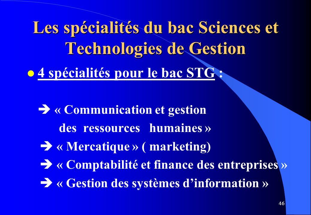 Les spécialités du bac Sciences et Technologies de Gestion