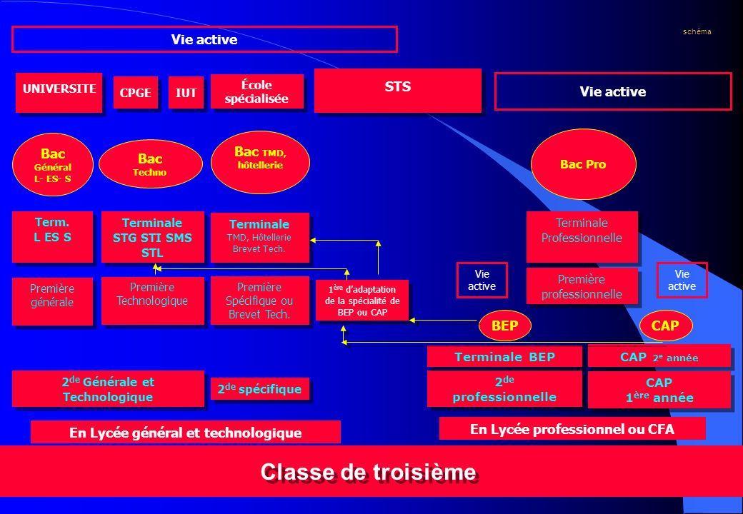 Classe de troisième Vie active STS Vie active Bac Général