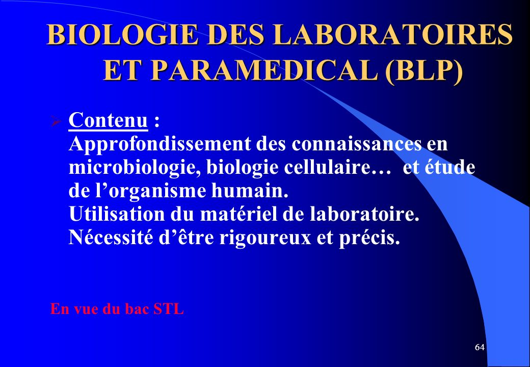 BIOLOGIE DES LABORATOIRES ET PARAMEDICAL (BLP)
