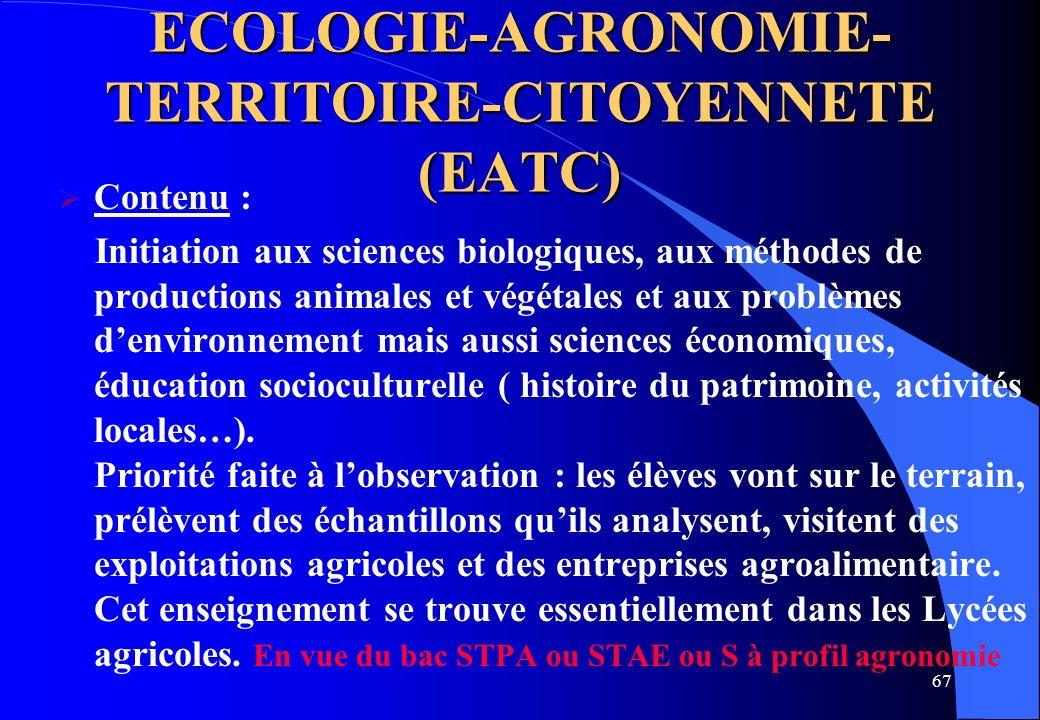 ECOLOGIE-AGRONOMIE- TERRITOIRE-CITOYENNETE (EATC)