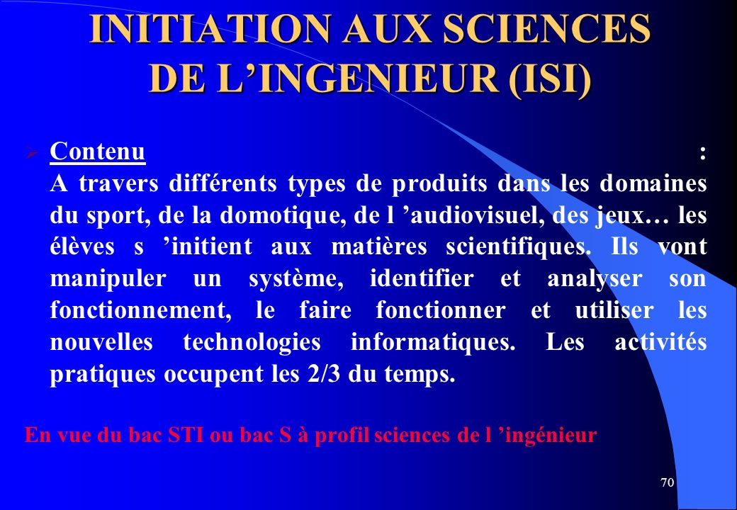 INITIATION AUX SCIENCES DE L'INGENIEUR (ISI)