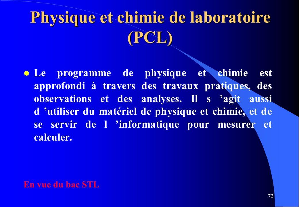 Physique et chimie de laboratoire (PCL)