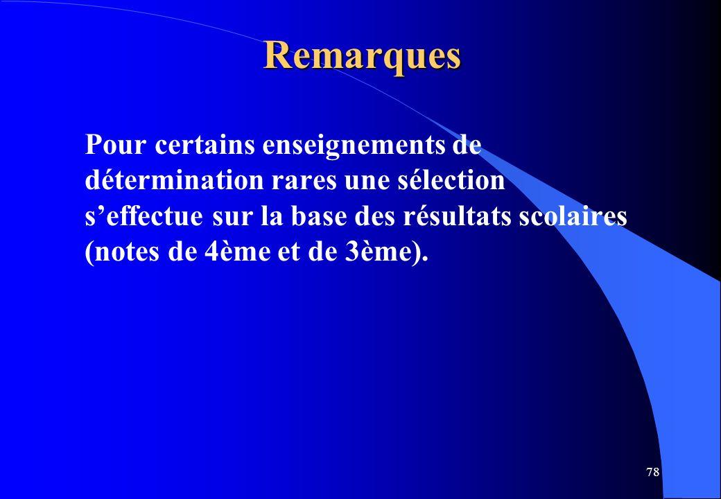 Remarques Pour certains enseignements de détermination rares une sélection s'effectue sur la base des résultats scolaires (notes de 4ème et de 3ème).