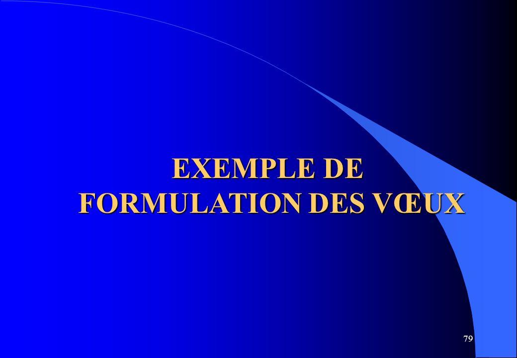 EXEMPLE DE FORMULATION DES VŒUX