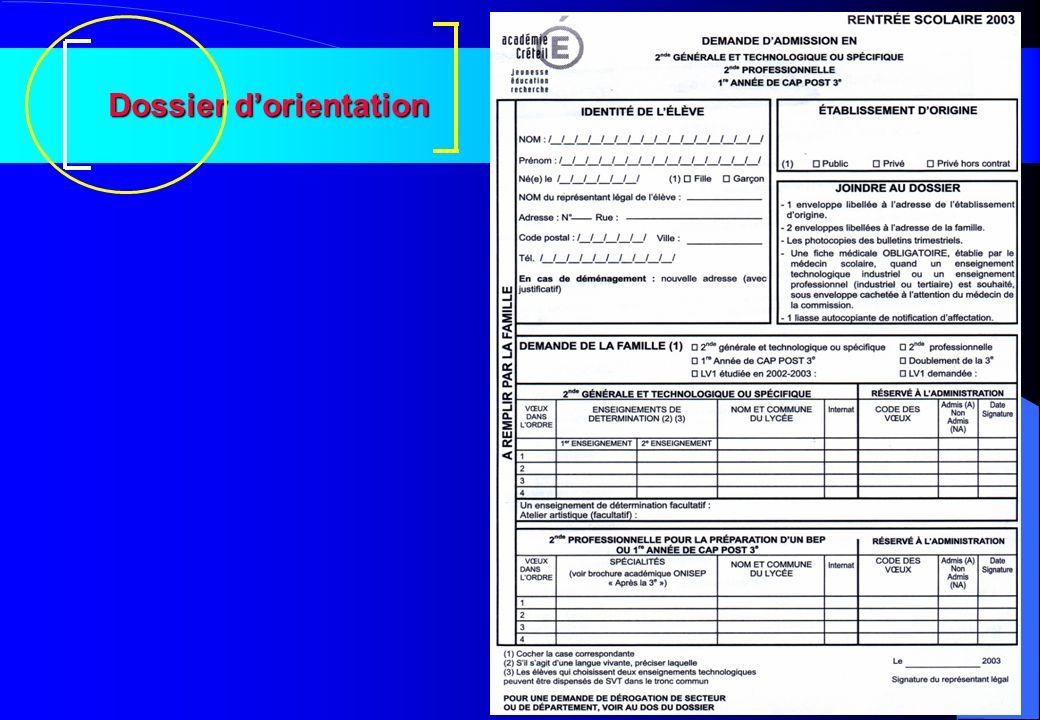 Dossier d'orientation