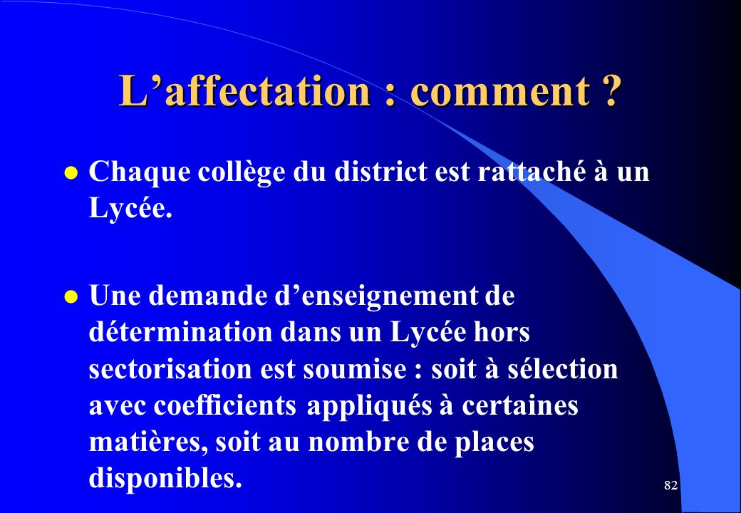 L'affectation : comment