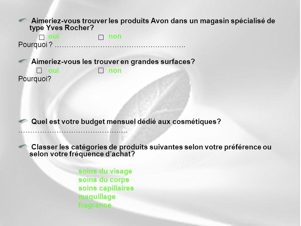 Aimeriez-vous trouver les produits Avon dans un magasin spécialisé de type Yves Rocher