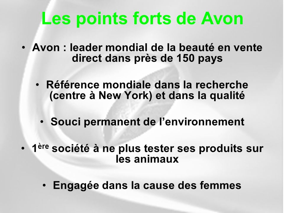 Les points forts de Avon