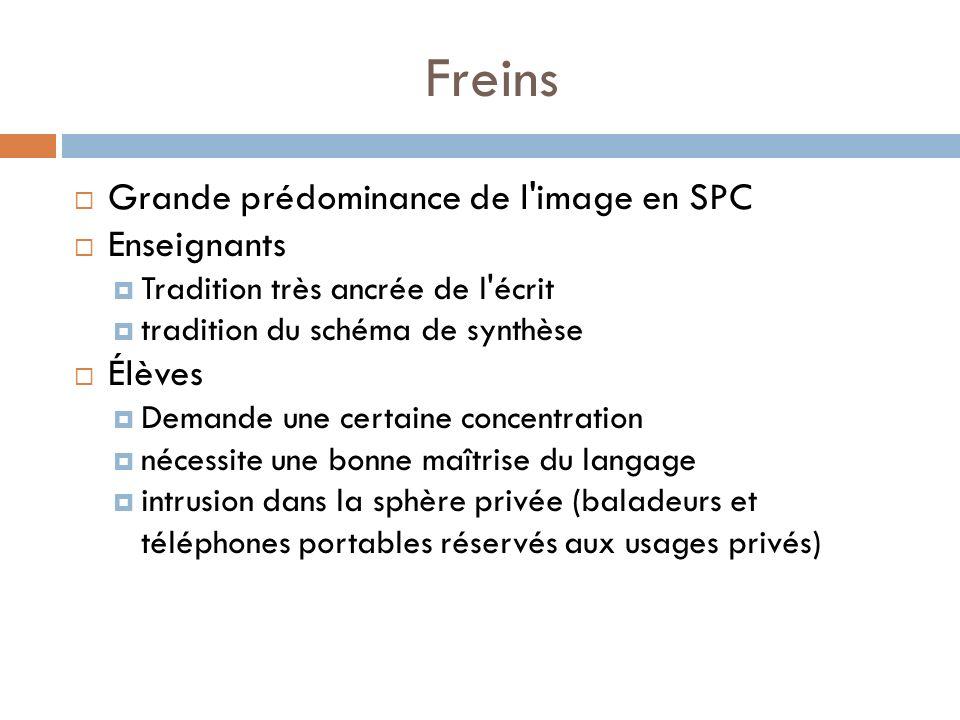 Freins Grande prédominance de l image en SPC Enseignants Élèves