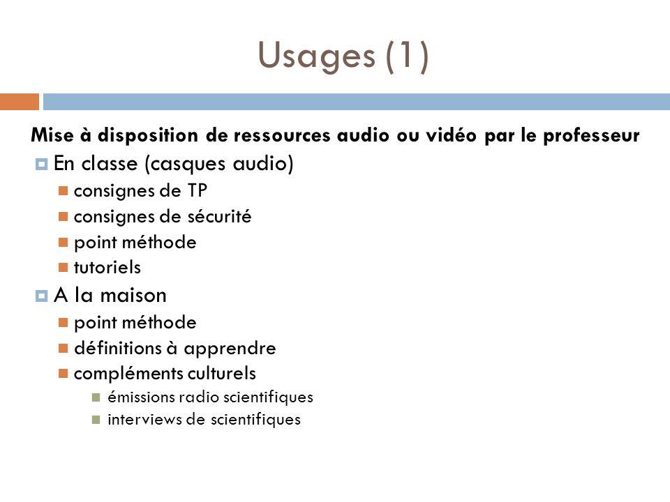 Mise à disposition de ressources audio ou vidéo par le professeur