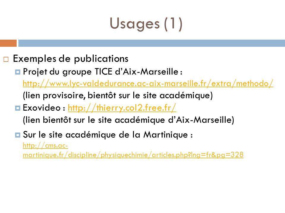 Usages (1) Exemples de publications