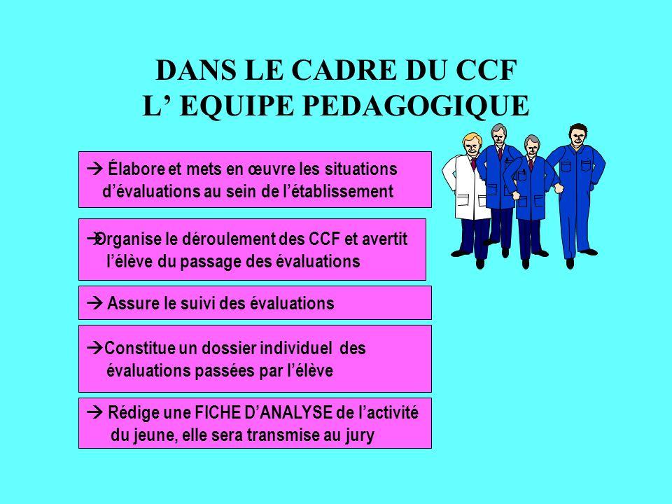 DANS LE CADRE DU CCF L' EQUIPE PEDAGOGIQUE