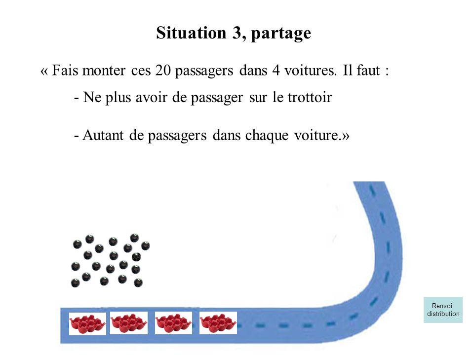 « Fais monter ces 20 passagers dans 4 voitures. Il faut :