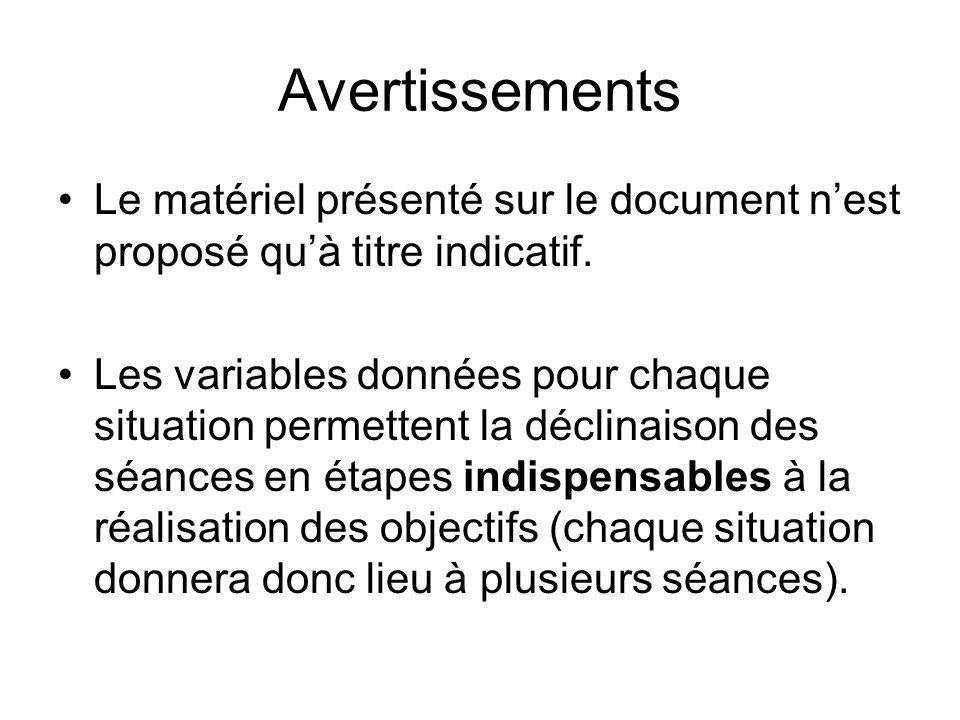 Avertissements Le matériel présenté sur le document n'est proposé qu'à titre indicatif.