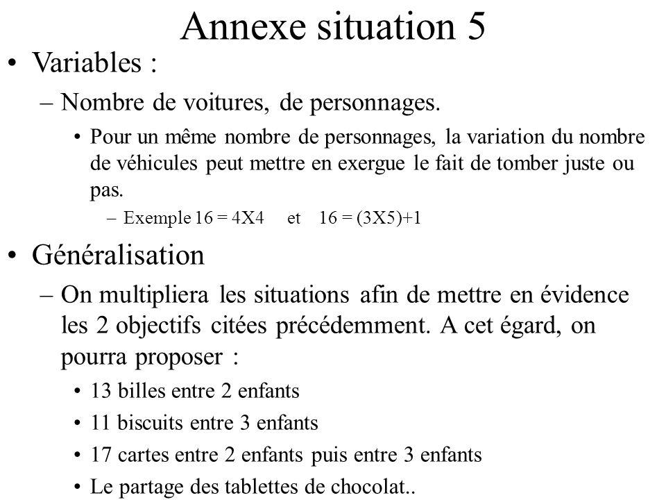 Annexe situation 5 Variables : Généralisation