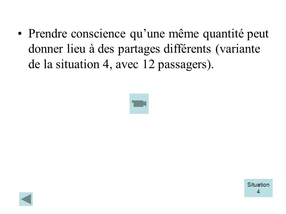 Prendre conscience qu'une même quantité peut donner lieu à des partages différents (variante de la situation 4, avec 12 passagers).