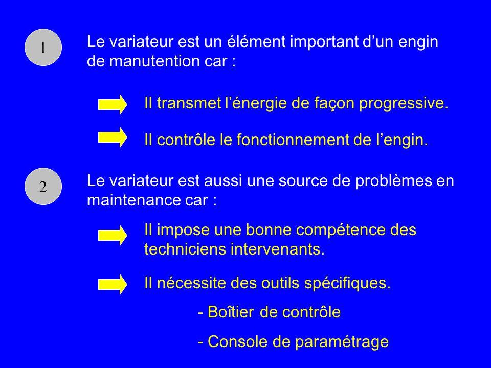 1Le variateur est un élément important d'un engin de manutention car : Il transmet l'énergie de façon progressive.