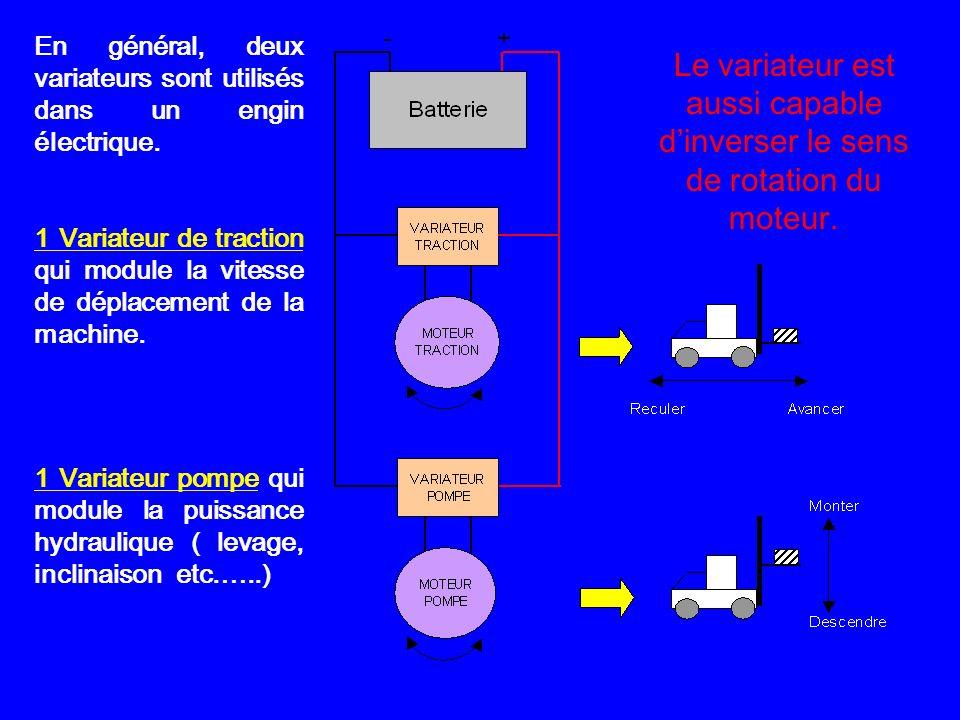 En général, deux variateurs sont utilisés dans un engin électrique.