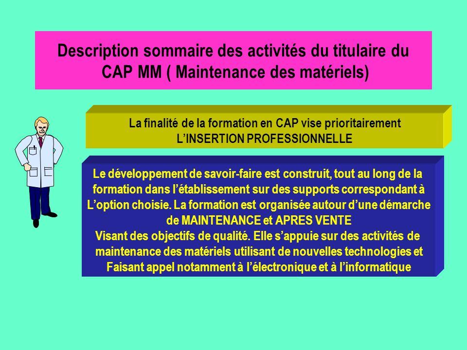 Description sommaire des activités du titulaire du CAP MM ( Maintenance des matériels)