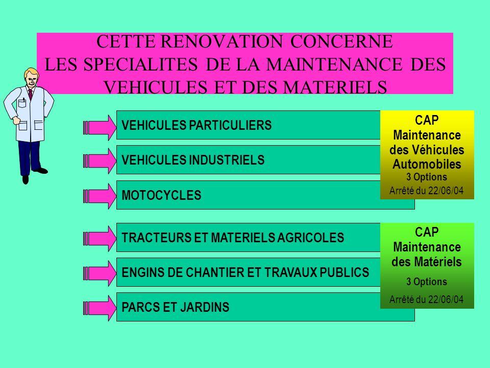 CETTE RENOVATION CONCERNE LES SPECIALITES DE LA MAINTENANCE DES VEHICULES ET DES MATERIELS
