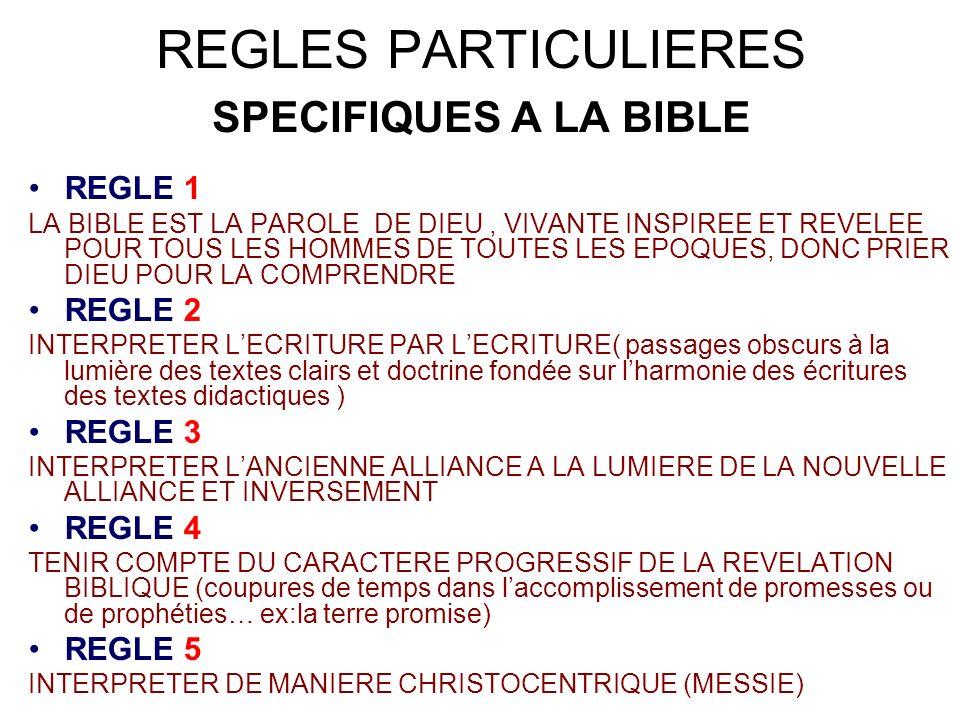 REGLES PARTICULIERES SPECIFIQUES A LA BIBLE