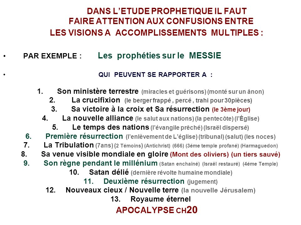DANS L'ETUDE PROPHETIQUE IL FAUT FAIRE ATTENTION AUX CONFUSIONS ENTRE LES VISIONS A ACCOMPLISSEMENTS MULTIPLES :