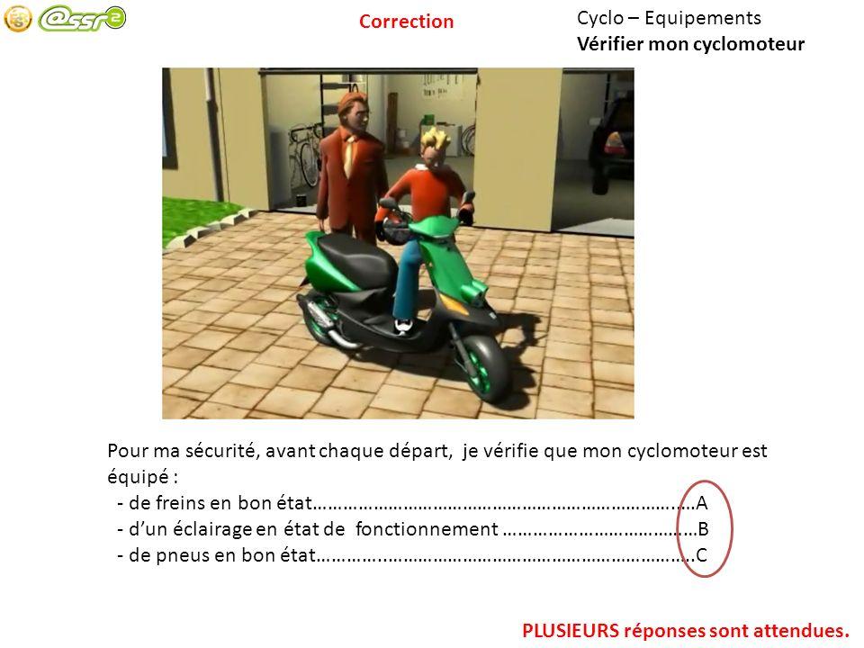 Correction Cyclo – Equipements. Vérifier mon cyclomoteur. Pour ma sécurité, avant chaque départ, je vérifie que mon cyclomoteur est équipé :