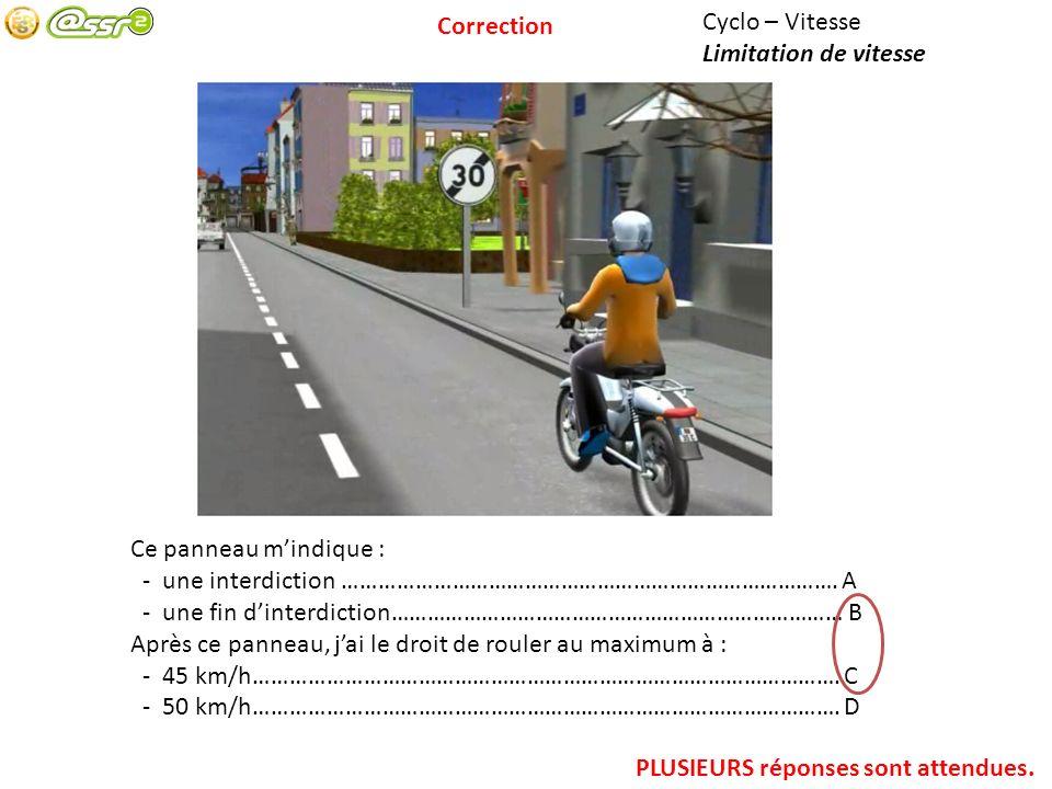 Correction Cyclo – Vitesse. Limitation de vitesse. Ce panneau m'indique : - une interdiction ………………………………………………………………………. A.