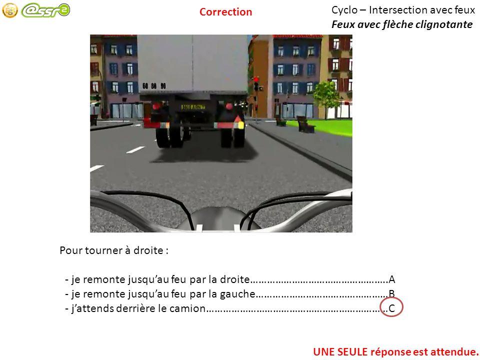 Correction Cyclo – Intersection avec feux. Feux avec flèche clignotante. Pour tourner à droite :