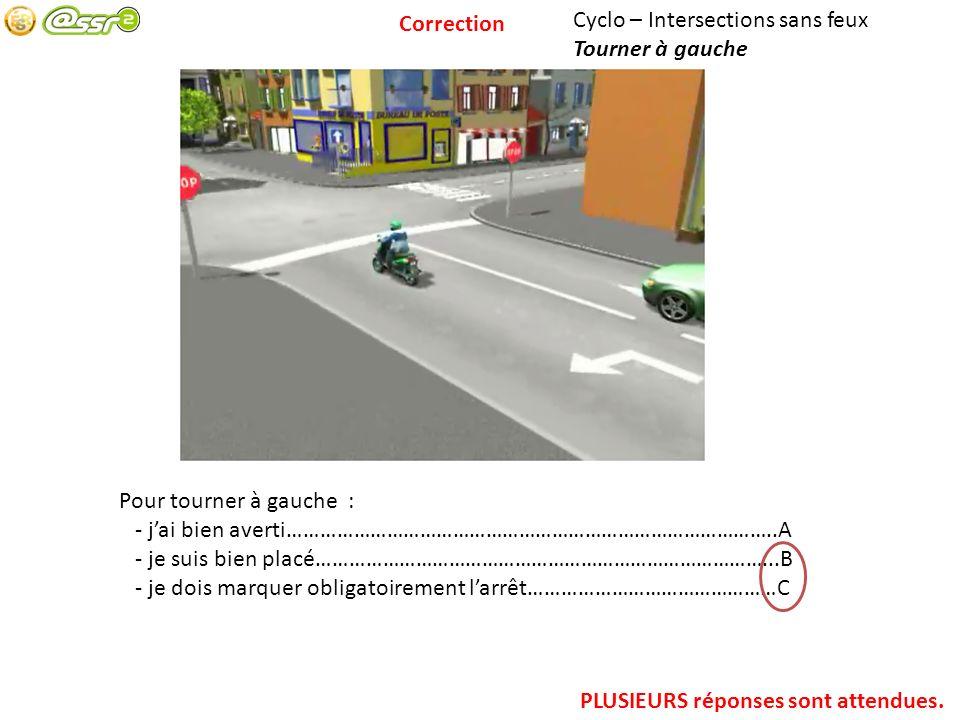 Correction Cyclo – Intersections sans feux. Tourner à gauche. Pour tourner à gauche : - j'ai bien averti……………………………………………………………………………..A.