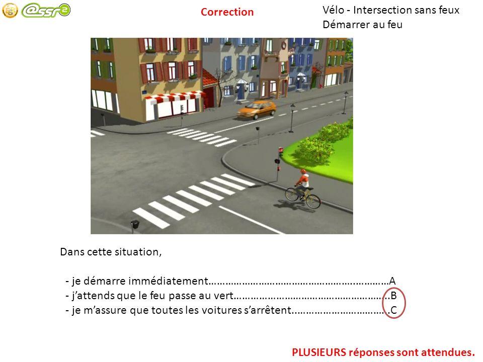 Correction Vélo - Intersection sans feux. Démarrer au feu. Dans cette situation, - je démarre immédiatement……………………………………………..…………A.