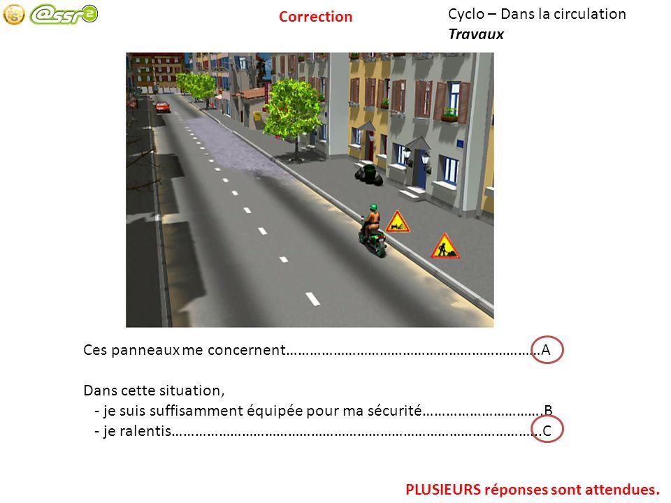 Correction Cyclo – Dans la circulation. Travaux. Ces panneaux me concernent…………………………………………………………A.