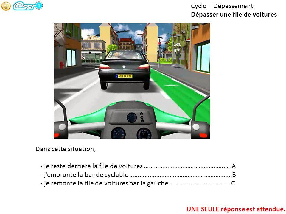 Cyclo – Dépassement Dépasser une file de voitures. Dans cette situation, - je reste derrière la file de voitures ……………………………………………..A.
