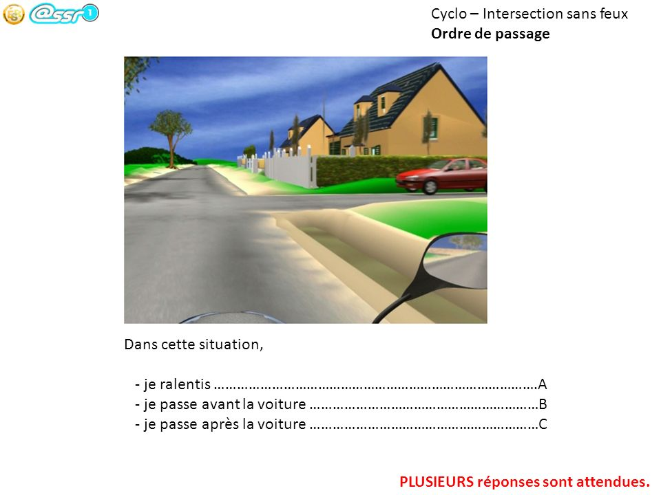 Cyclo – Intersection sans feux