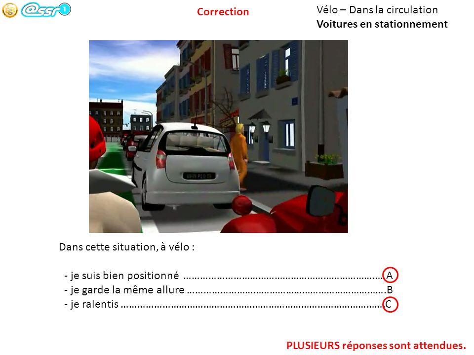 Correction Vélo – Dans la circulation. Voitures en stationnement. Dans cette situation, à vélo :