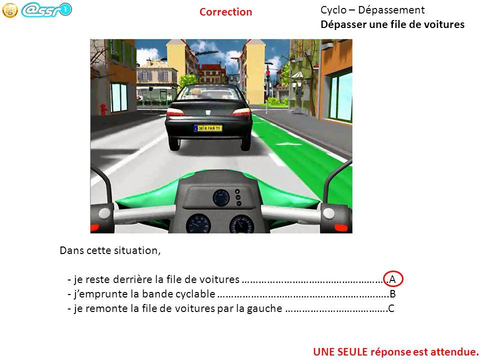 Correction Cyclo – Dépassement. Dépasser une file de voitures. Dans cette situation,