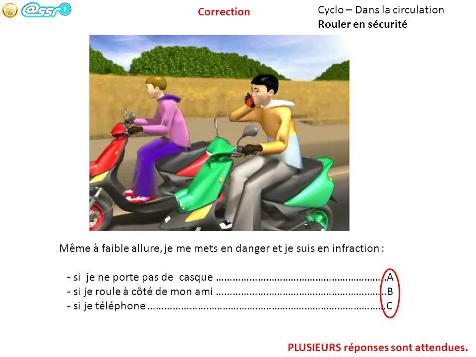 Correction Cyclo – Dans la circulation. Rouler en sécurité. Même à faible allure, je me mets en danger et je suis en infraction :