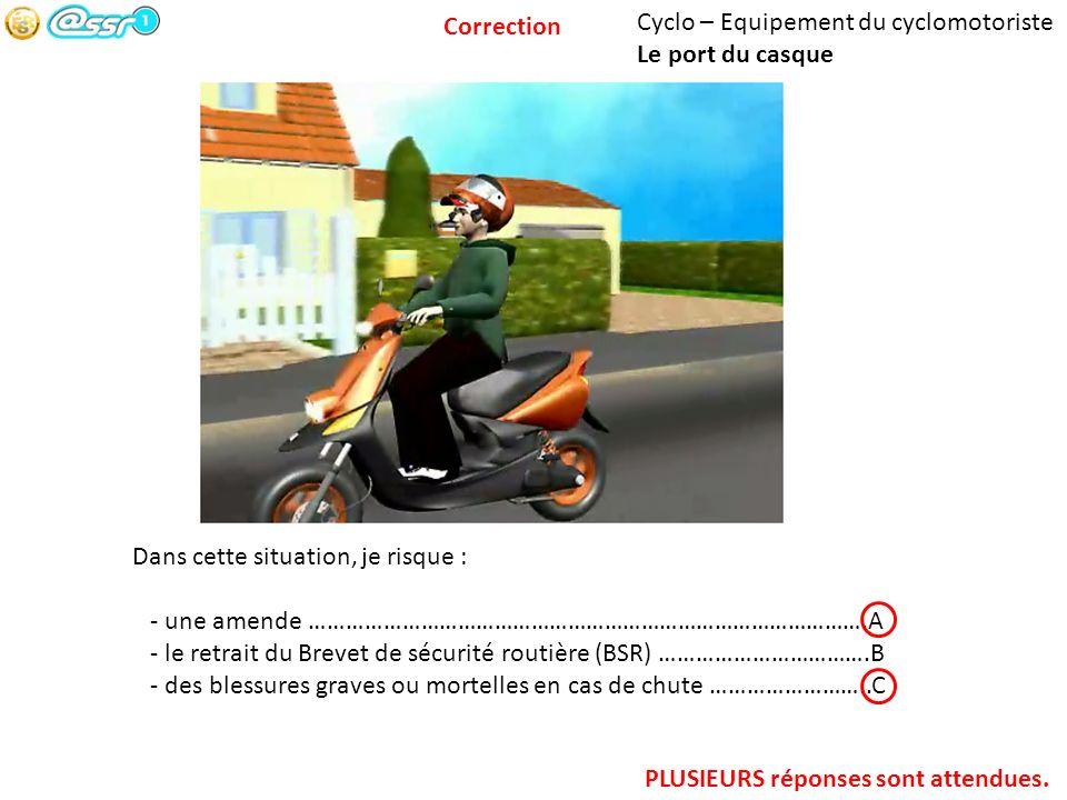 Correction Cyclo – Equipement du cyclomotoriste. Le port du casque. Dans cette situation, je risque :