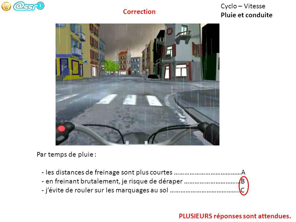Cyclo – Vitesse Pluie et conduite. Correction. Par temps de pluie : - les distances de freinage sont plus courtes …………………………………A.