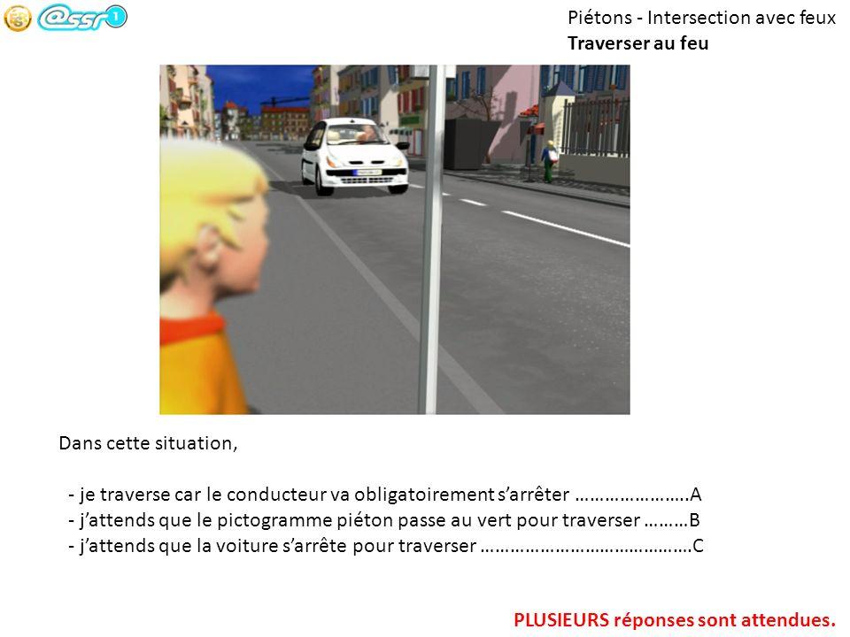 Piétons - Intersection avec feux