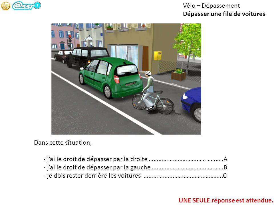 Vélo – Dépassement Dépasser une file de voitures. Dans cette situation, - j'ai le droit de dépasser par la droite ………………………………………..A.