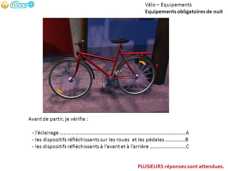 Vélo – Equipements Equipements obligatoires de nuit. Avant de partir, je vérifie : - l'éclairage ……………………………………………………………………………………A.