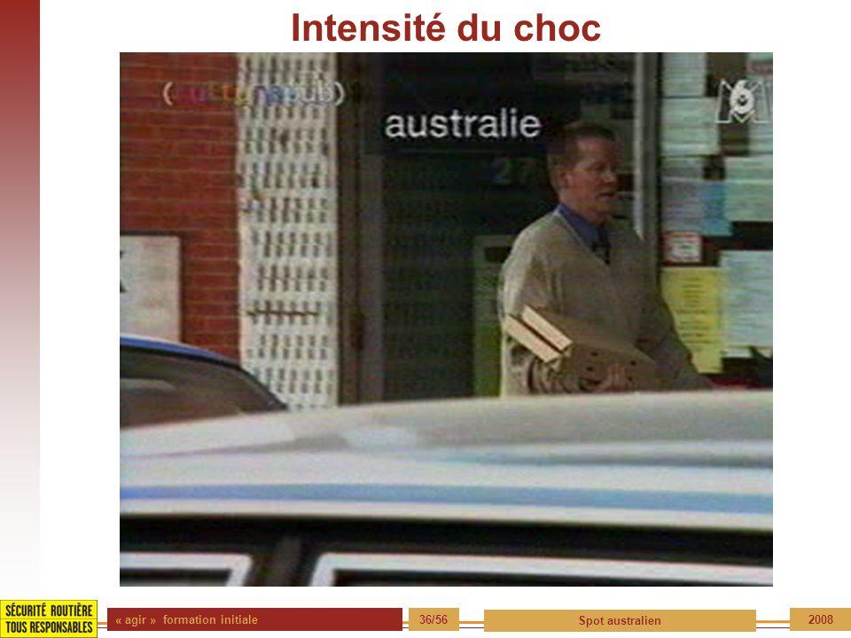 Intensité du choc « agir » formation initiale 36/56 Spot australien