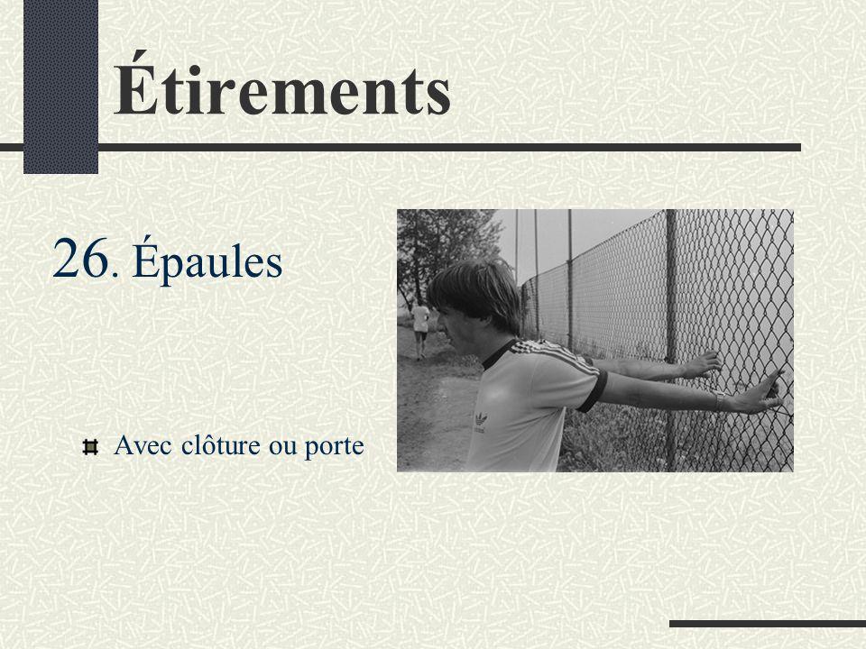 Étirements 26. Épaules Avec clôture ou porte