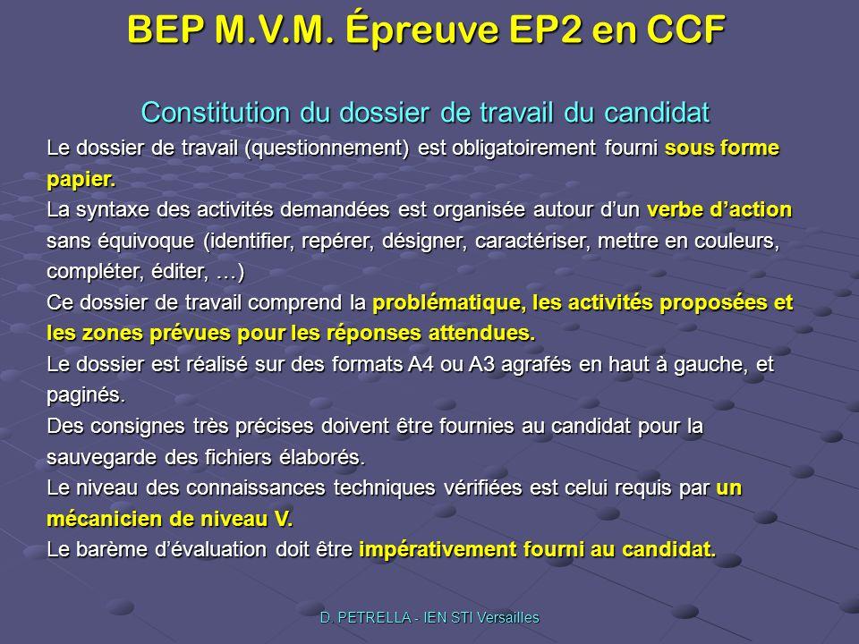 Constitution du dossier de travail du candidat