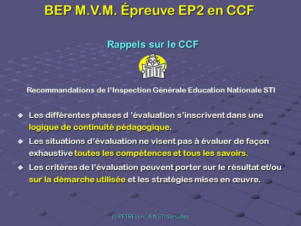 Rappels sur le CCF Recommandations de l'Inspection Générale Education Nationale STI.