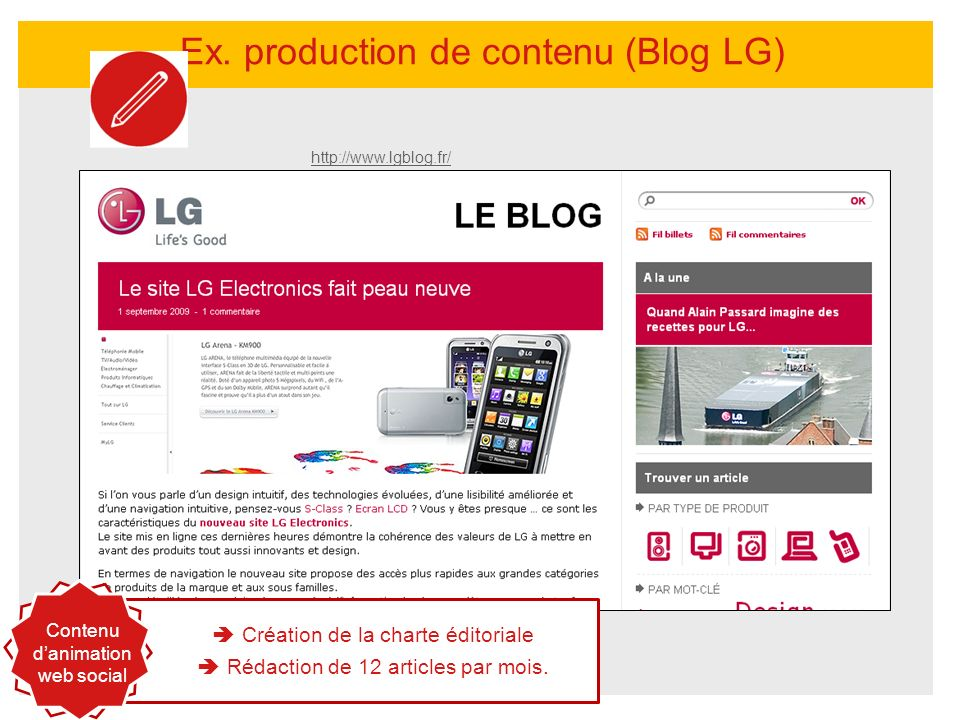 Ex. production de contenu (Blog LG)