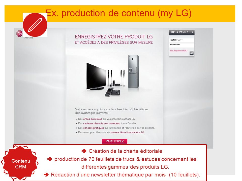 Ex. production de contenu (my LG)